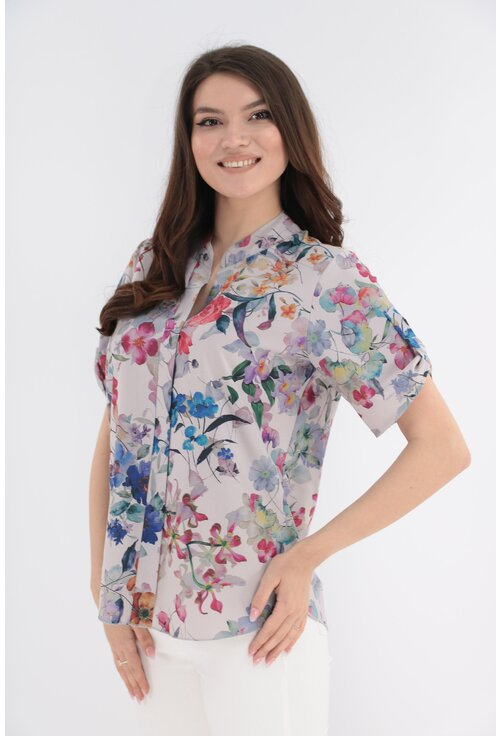 Bluza crem cu print floral multicolor