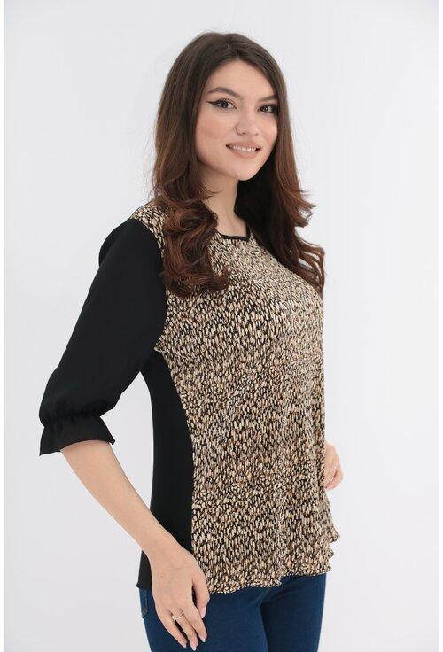Bluza cu animal print si spatele negru