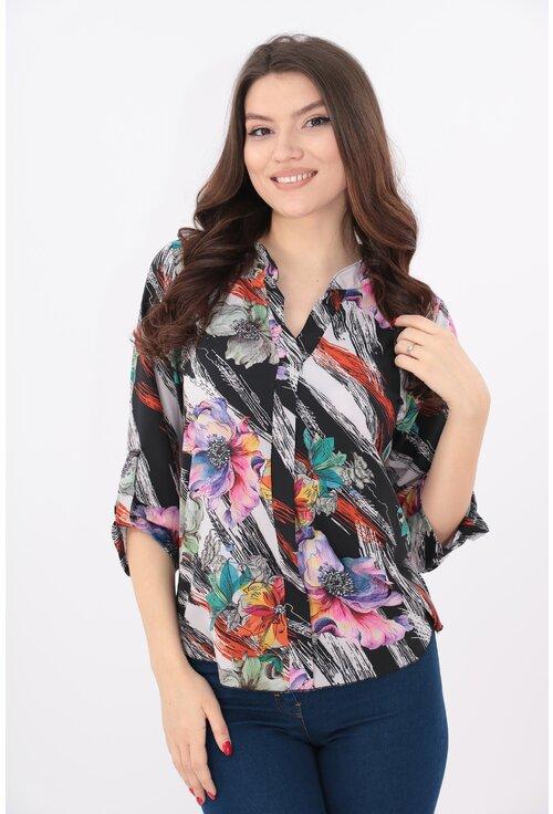 Bluza cu flori maxi multicolore si guler tunica