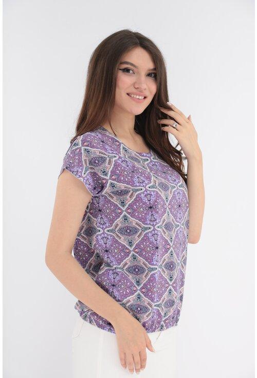 Bluza cu print abstract roz-violet