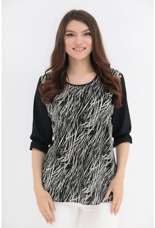 Bluza cu print alb-negru si spatele negru