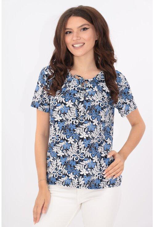 Bluza cu print floral bleu-alb