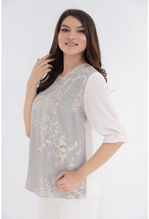 Bluza cu print floral si spatele alb