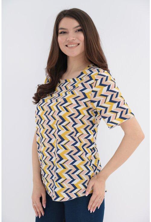 Bluza cu print geometric bleumarin-mustar