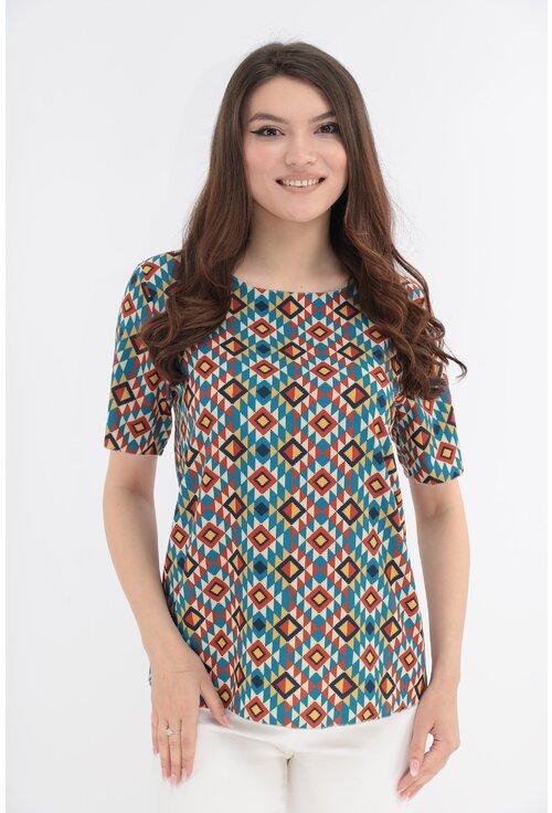 Bluza cu print traditional albastru si bordo