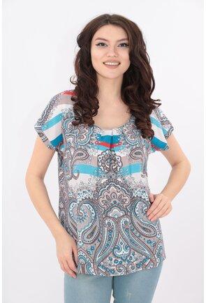 Bluza din bumbac cu imprimeu maxi bleu