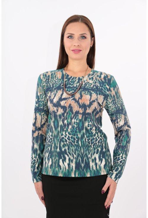 Bluza din jerse cu imprimeu verde si bej
