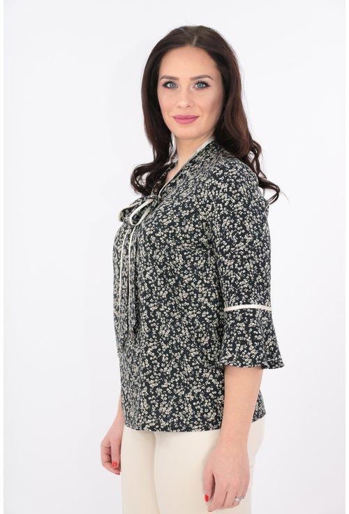 Bluza din vascoza cu imprimeu crem