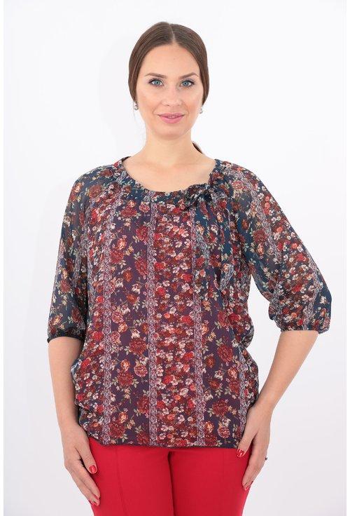 Bluza din voal cu print floral