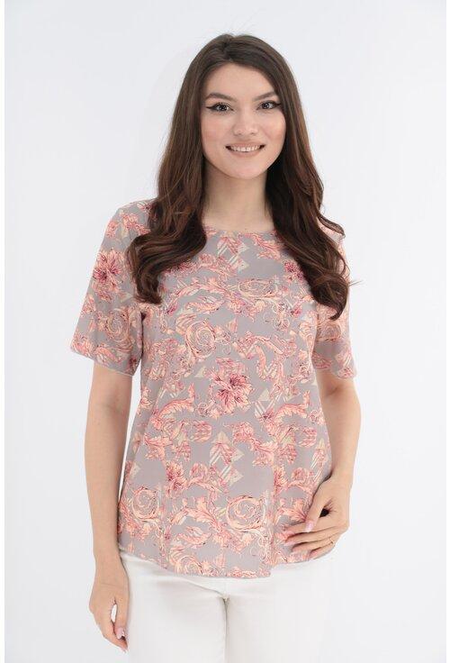 Bluza gri cu print floral caramiziu