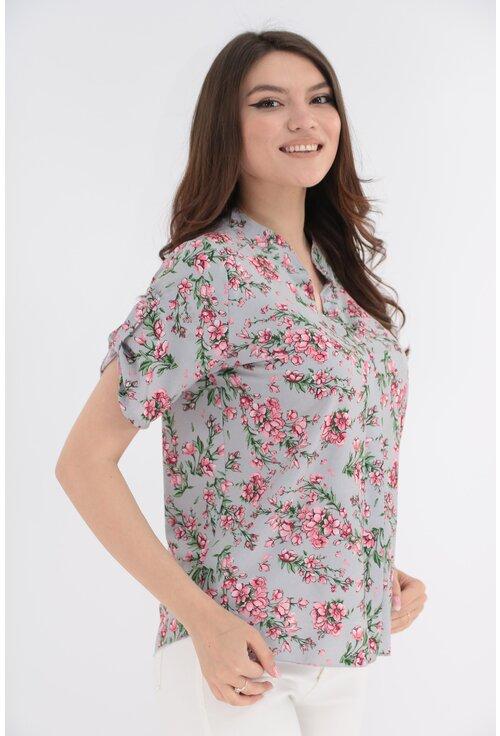 Bluza gri cu print floral roz