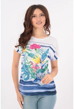 Bluza lejera alba cu dungi albastre si flori