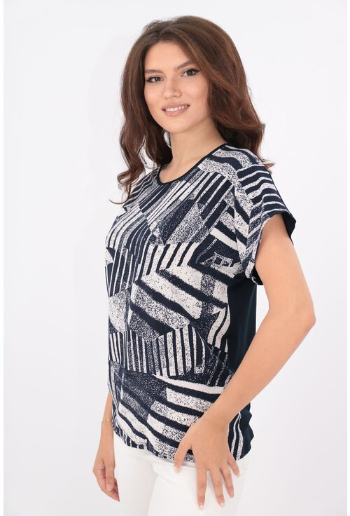 Bluza lejera bleumarin cu print abstract