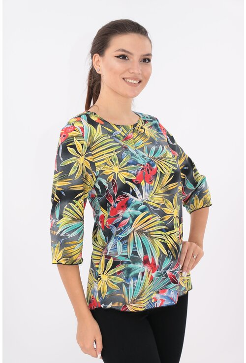 Bluza lejera gri cu desen floral multicolor