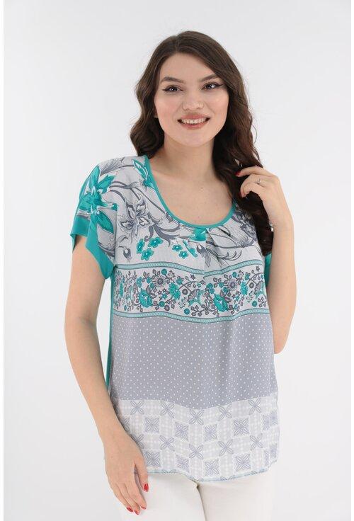 Bluza lejera turcoaz din vascoza cu imprimeu gri
