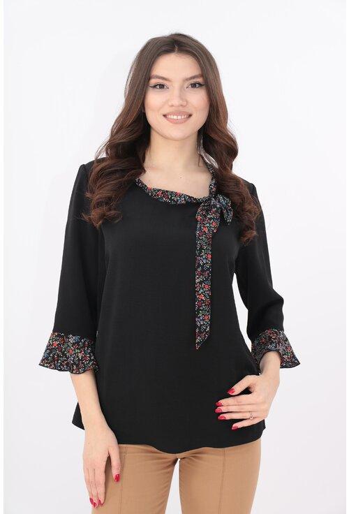 Bluza neagra cu esarfa cu print floral multicolor