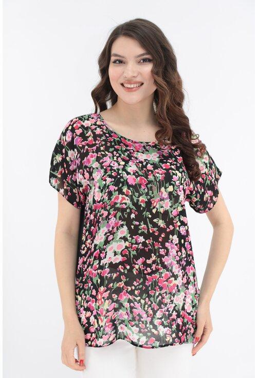 Bluza neagra cu imprimeu floral multicolor