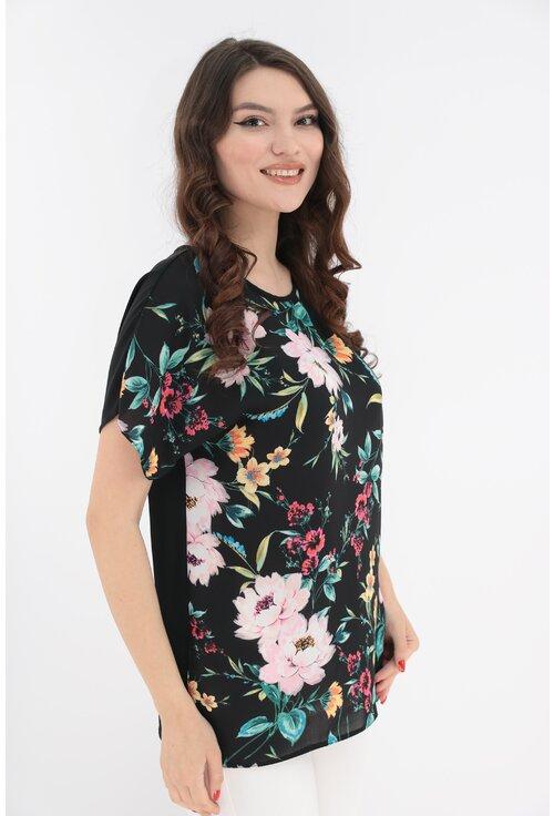 Bluza neagra cu imprimeu floral roz maxi