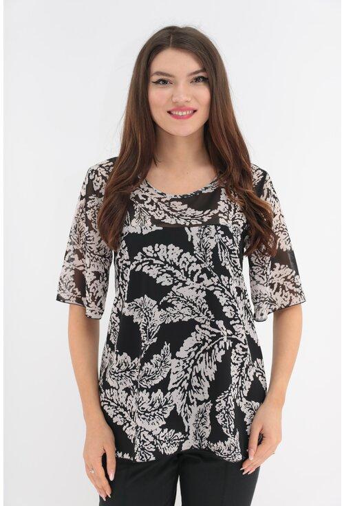 Bluza neagra din voal cu imprimeu floral alb