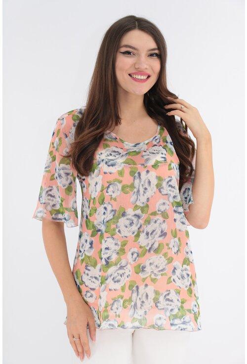 Bluza roz din voal cu print floral maxi