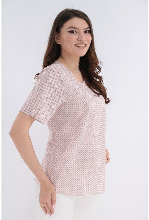 Bluza roz pudra cu print geometric discret