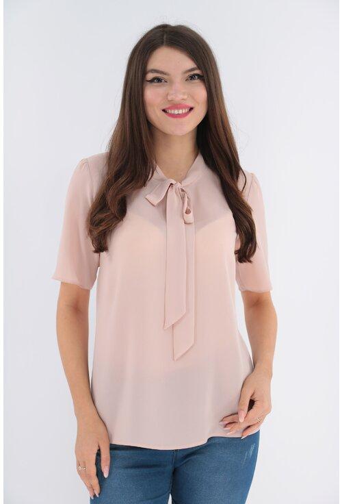 Bluza uni roz pudra cu funda