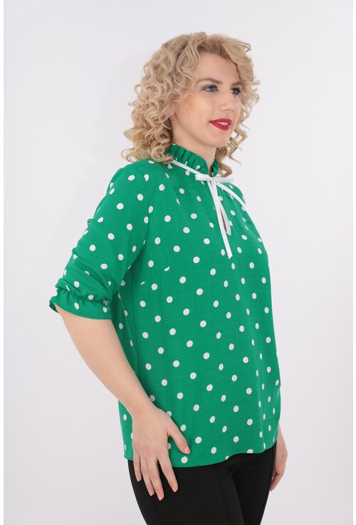 Bluza verde din bumbac cu buline albe