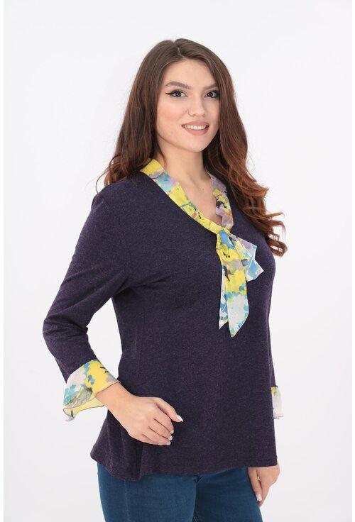 Bluza violet cu esarfa si volane din voal imprimat