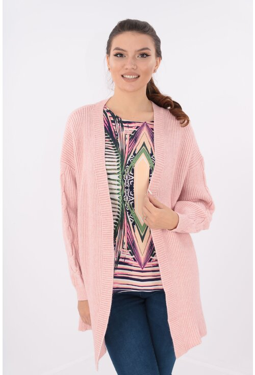 Cardigan lung roz tricotat spic