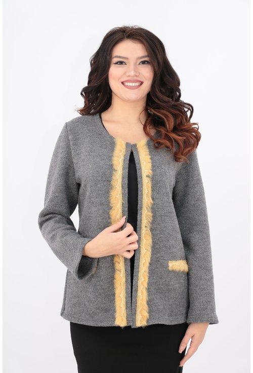Cardigan tricotat din lana cu blanita galbena