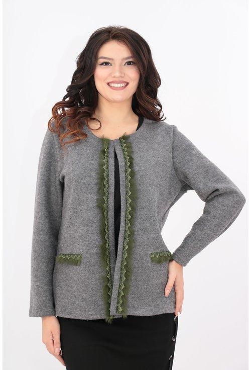 Cardigan tricotat din lana cu blanita verde