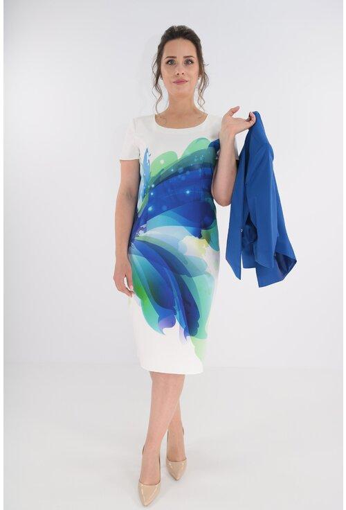 Compleu format din rochie alba cu print floral albastru si sacou