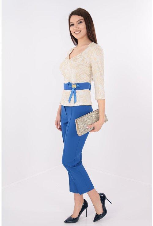 Costum elegant bluza din brocard si pantaloni albastri