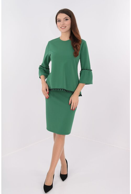 Costum verde bluza si fusta