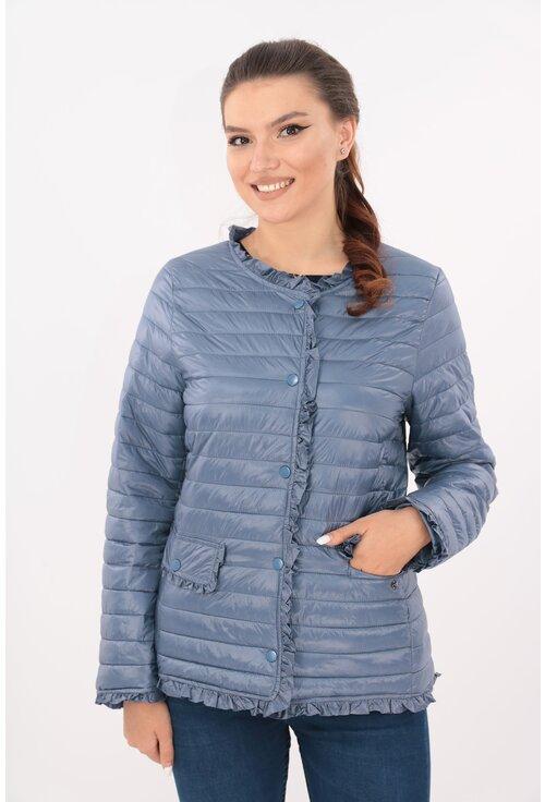 Jacheta albastra din fas matlasat cu volanase