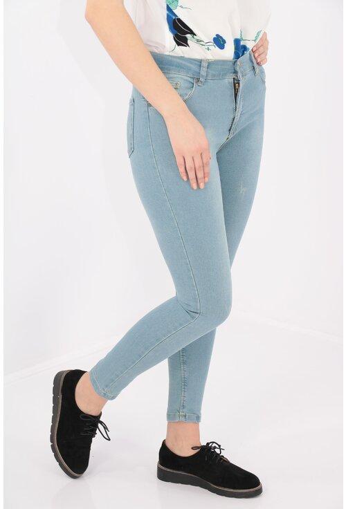 Jeans bleu skinny fit cu talie inalta
