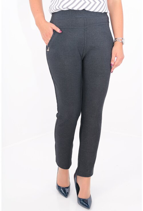 Pantaloni bleumarin inchis pepit cu buzunare