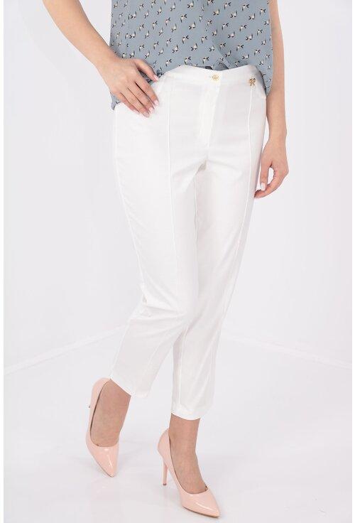 Pantaloni conici 7/8 albi