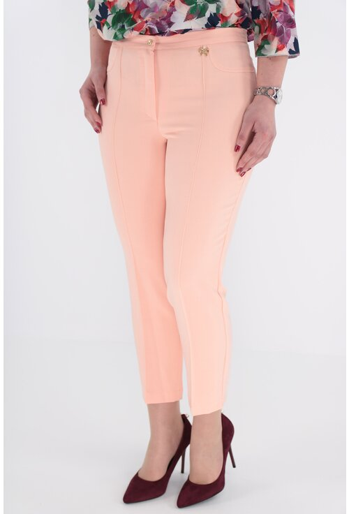 Pantaloni conici 7/8 roz piersica