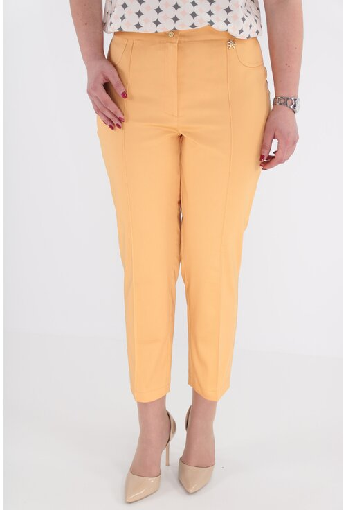 Pantaloni din bumbac satinat nuanta somon