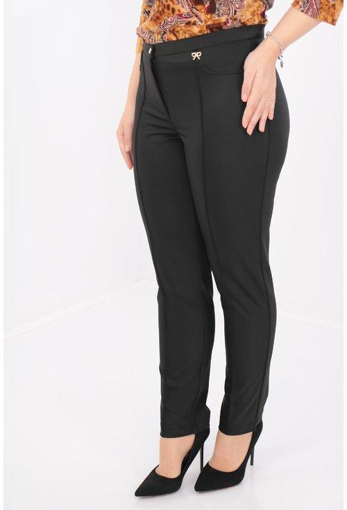 Pantaloni negri din stofa satinata