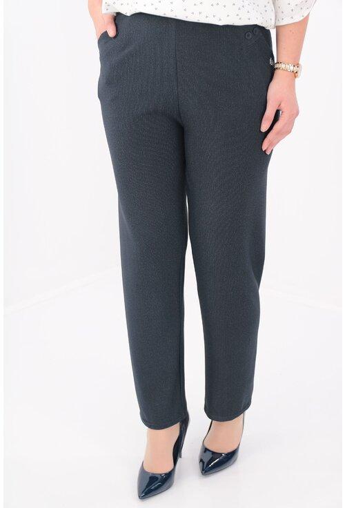 Pantaloni office bleumarin cu imprimeu discret cu dungi