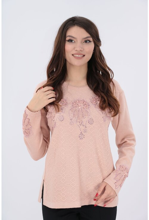 Pulover roz-pudra cu fundite
