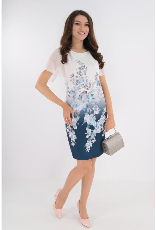 Rochie alb-bleumarin cu imprimeu floral