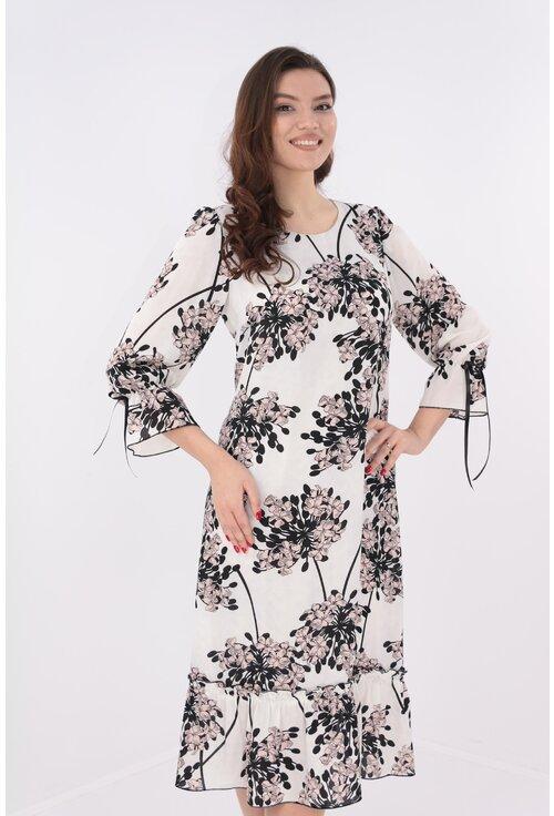 Rochie alba cu print floral maxi roz-negru