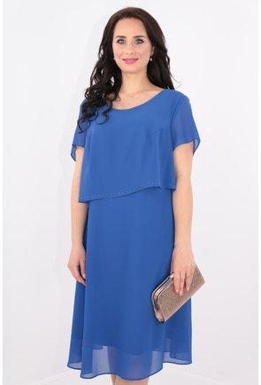 Rochie albastra cu voaluri suprapuse si strasuri