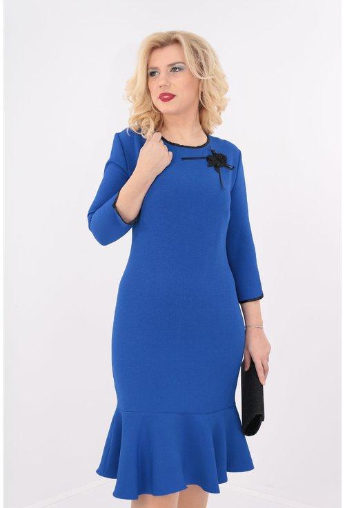 Rochie albastra cu volan si dantela handmade