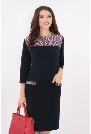 Rochie bleumarin cu garnituri geometrice