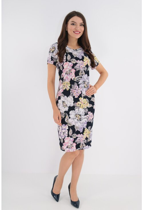 Rochie bleumarin cu print floral maxi lila