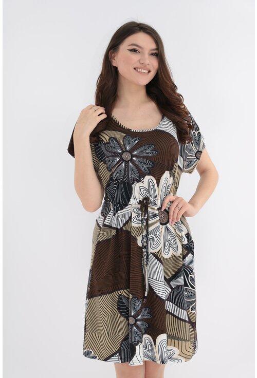 Rochie cafenie din tricot cu print floral